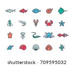 set of vector fish and sea food ... | Shutterstock .eps vector #709595032