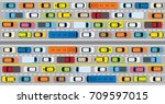 vehicles on road with traffic... | Shutterstock .eps vector #709597015