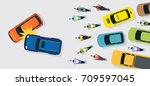 cars accident with traffic jam... | Shutterstock .eps vector #709597045