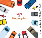 cars and motorcycles  top or... | Shutterstock .eps vector #709601242