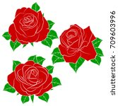 painted set of roses. roses... | Shutterstock .eps vector #709603996