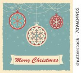 merry christmas retro scene | Shutterstock .eps vector #709604902