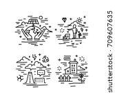 set of vector icons in modern...   Shutterstock .eps vector #709607635