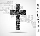 cross of religious words.... | Shutterstock .eps vector #709612162