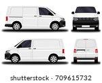 realistic cargo van. front view ... | Shutterstock .eps vector #709615732