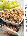 healthy granola muesli... | Shutterstock . vector #709618816