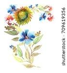 beautiful floral garland. red ... | Shutterstock . vector #709619356