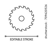 circular saw blade linear icon. ... | Shutterstock .eps vector #709620526