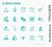 alternative medicine thin line...   Shutterstock .eps vector #709624858