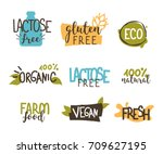 food badges collection.  gluten ... | Shutterstock .eps vector #709627195