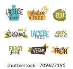 food badges collection.  gluten ... | Shutterstock .eps vector #709627195