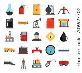 oil gas industry flat icons set ... | Shutterstock .eps vector #709627702