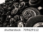 worn out used rusty brake discs ... | Shutterstock . vector #709629112
