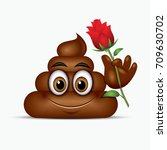 poo emoticon holding red rose ... | Shutterstock .eps vector #709630702