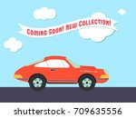 retro styled sport car with the ... | Shutterstock .eps vector #709635556