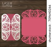 laser cut wedding invitation... | Shutterstock .eps vector #709640266