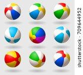 inflatable beach ball. set of... | Shutterstock .eps vector #709644952