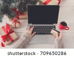 christmas online shopping  top... | Shutterstock . vector #709650286