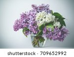 Lilac Flowers In Vase Against...