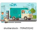 electric delivery van picking... | Shutterstock .eps vector #709655242