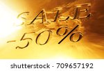 gold sale 50  3d illustration | Shutterstock . vector #709657192