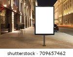 blank street billboard at night ... | Shutterstock . vector #709657462