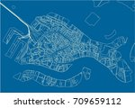 blue and white vector city map... | Shutterstock .eps vector #709659112