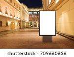 blank street billboard at night ... | Shutterstock . vector #709660636