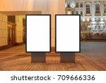 two blank street billboards at... | Shutterstock . vector #709666336
