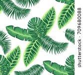 tropical leaves seamless... | Shutterstock .eps vector #709680088