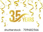 isolated golden color number 35 ... | Shutterstock .eps vector #709682566