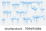 set of snowdrifts with... | Shutterstock .eps vector #709691086