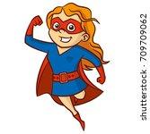 super hero girl cartoon... | Shutterstock .eps vector #709709062