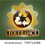 shiny badge with recycle icon... | Shutterstock .eps vector #709712488