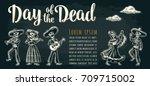 skeleton in mexican national... | Shutterstock .eps vector #709715002