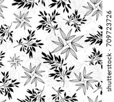 vector black and white tropical ... | Shutterstock .eps vector #709723726
