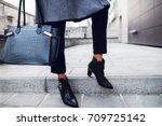 elegant outfit. close up of... | Shutterstock . vector #709725142
