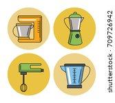 kitchen utensils icons | Shutterstock .eps vector #709726942