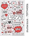 set of hand drawn doodle love... | Shutterstock .eps vector #709744006