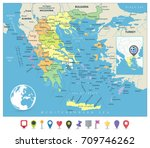 greece political map and flat... | Shutterstock .eps vector #709746262