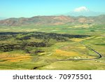 Lava fields, plains and Mt Ararat - stock photo