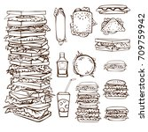 set of hand drawn stacks of...   Shutterstock .eps vector #709759942