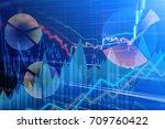 statistic graph stock market... | Shutterstock . vector #709760422