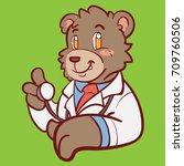 bear doctor mascot   Shutterstock .eps vector #709760506