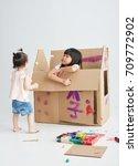 asian children were painting... | Shutterstock . vector #709772902