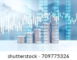 graph coins stock finance and... | Shutterstock . vector #709775326