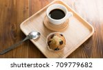 chocolate chip muffin and cup... | Shutterstock . vector #709779682