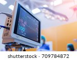 ekg monitor at icu  in hospital ... | Shutterstock . vector #709784872