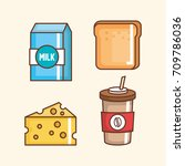 delicious fast food icons   Shutterstock .eps vector #709786036