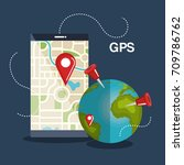tablet with gps application | Shutterstock .eps vector #709786762
